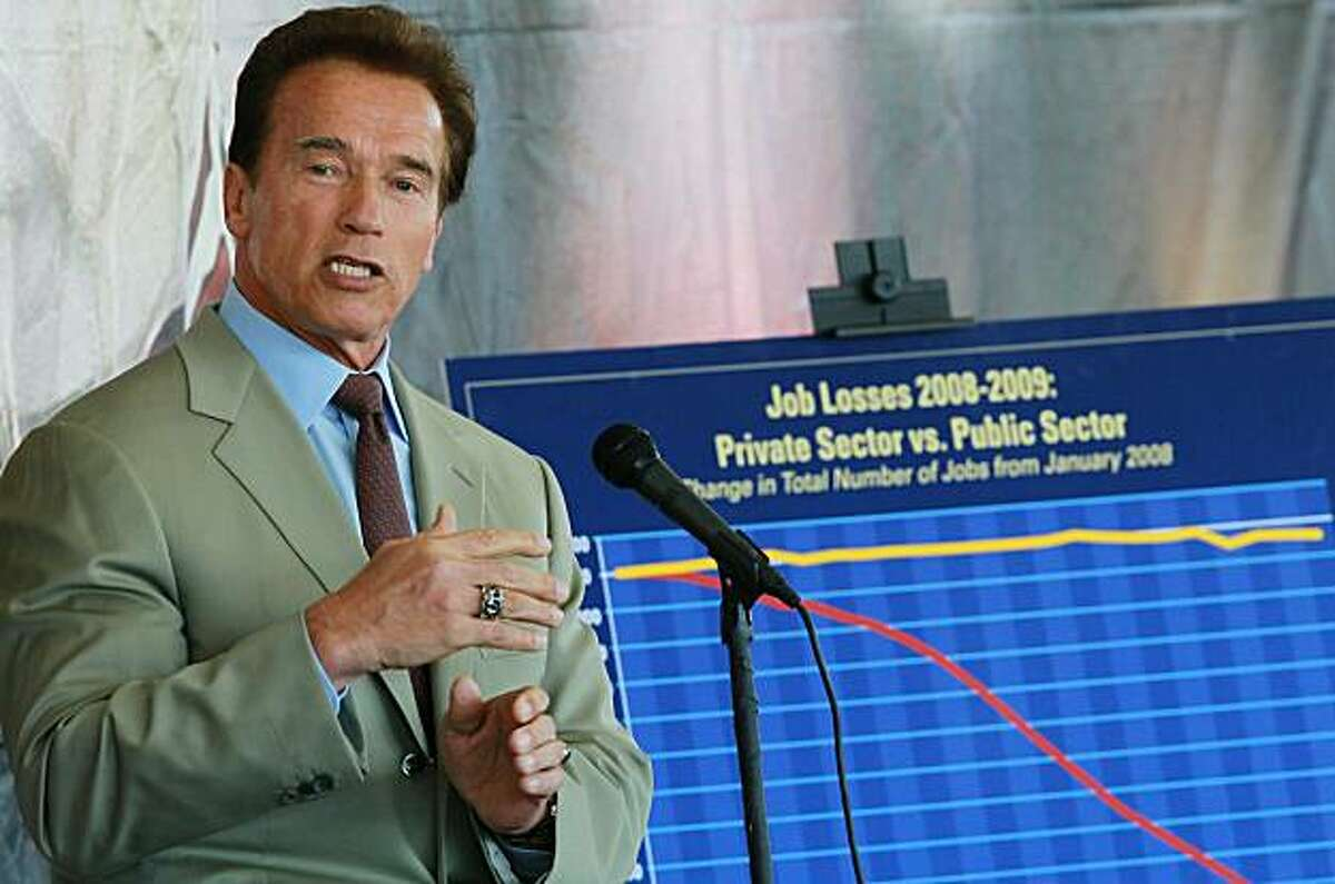SANTA CLARA, CA - AUGUST 06: California Governor Arnold Schwarzenegger speaks in front of a chart showing the difference between public and private sector job losses during a two-year period August 6, 2010 in Santa Clara, California. State legislatures continue to battle over California's budget which is now almost six weeks overdue.