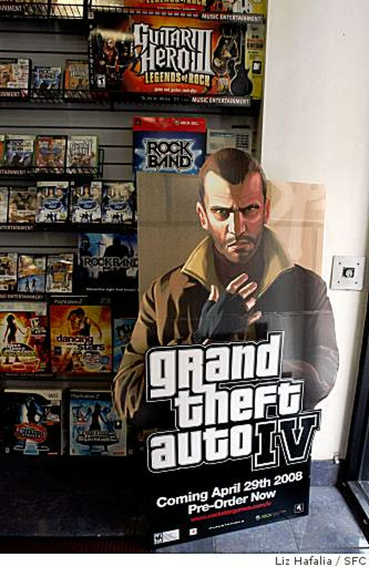 Display ad of graphic video game, Grand Theft Auto, on display at Game Stop the day before it's sale in San Francisco, Calif., on Monday, April 28, 2008. Photo by Liz Hafalia / San Francisco Chronicle