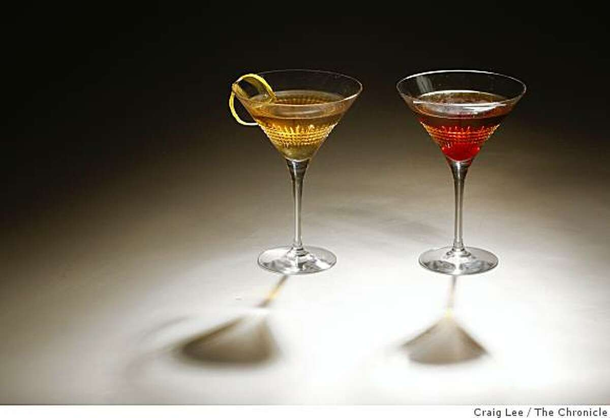 Two cocktail drinks, The Dry Rob Roy (left) and The Rob Roy (right) in San Francisco, Calif., on January 8, 2009. Cocktail drinks styled by Cindy Lee.