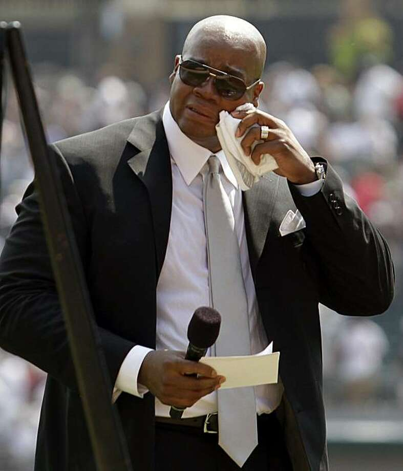 Former Chicago White Sox's Frank Thomas cries as he wipes his face as his No. 35 was retired before a baseball game between the New York Yankees and the White Sox in Chicago, Sunday, Aug. 29, 2010. Thomas is the 10th White Sox player whose number has beenretired. Photo: Nam Y. Huh, AP