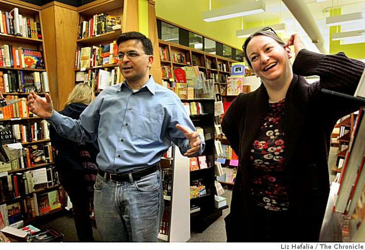 Praveen Madan and Christin Evans, the owners of Booksmith on Haight, a bookstore in San Francisco, Calif., on Wednesday, January 14, 2009.