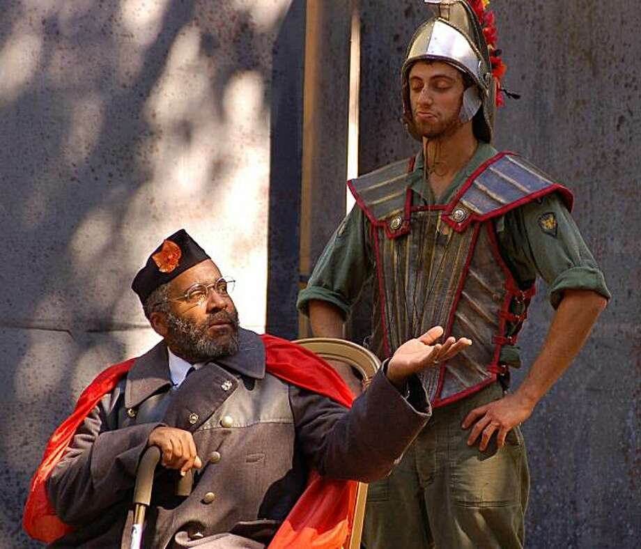 """King Priam (John Thomas, left) and his hero son Hektor (Alex Hersler) discuss how to deal with the Greek armies laying siege to Troy in Jon Tracy's """"In the Wound"""" with Shotgun Players Photo: Benjamin Privitt"""