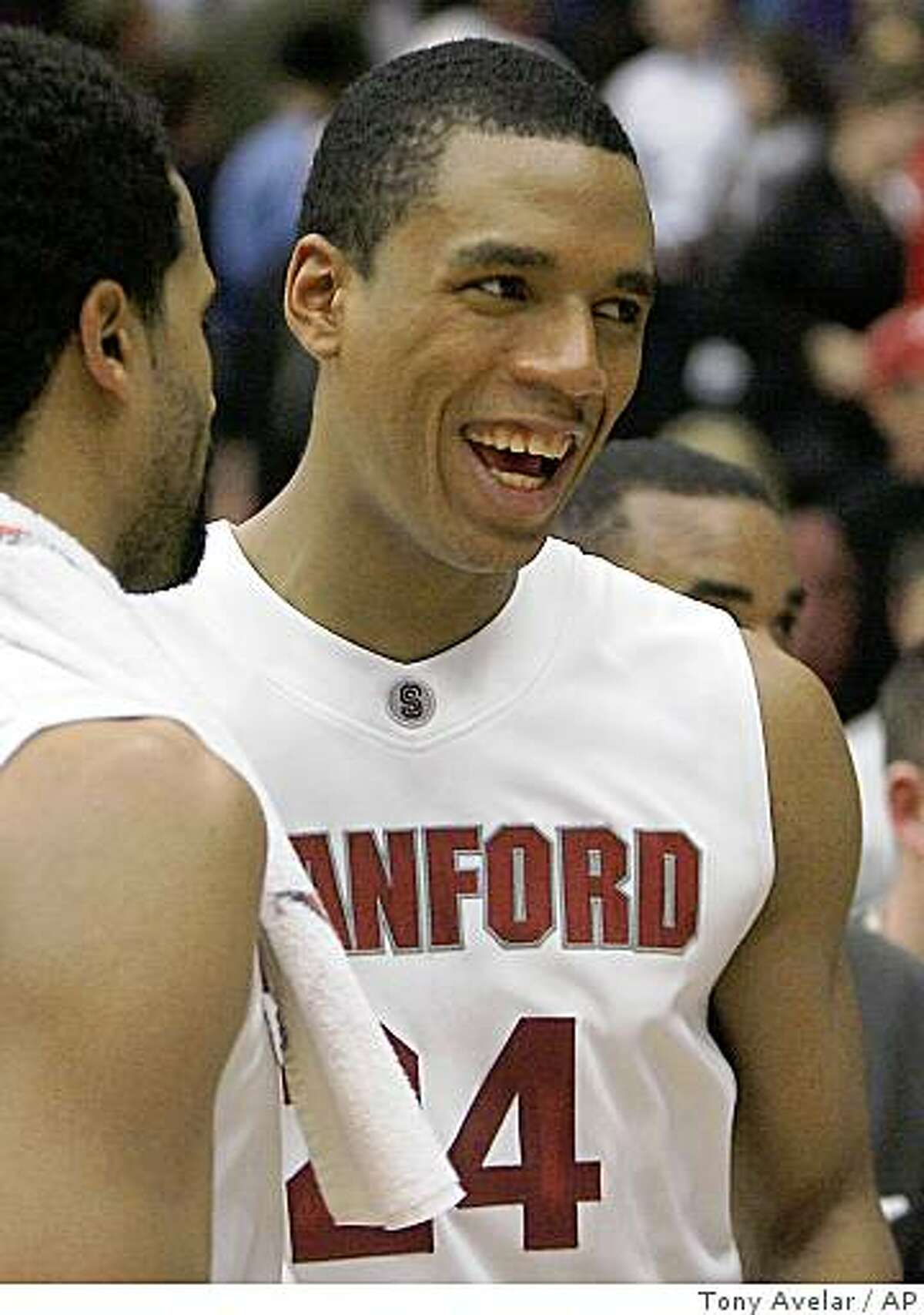 Stanford forward Lawrence Hill, left, congratulates teammate Josh Owens, right, after beating Texas Tech 111-66 in a game in Stanford, Calif., Sunday, Dec. 28, 2008.