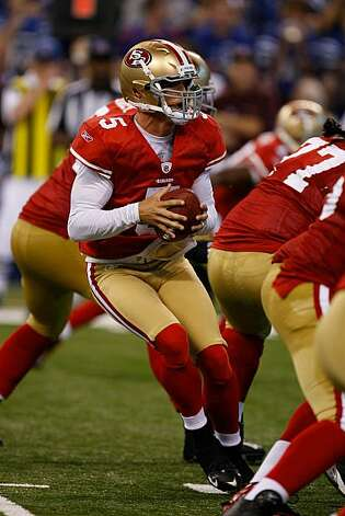 INDIANAPOLIS, IN - AUGUST 15: David Carr #5 of the San Francisco 49ers looks to pass during the preseason game against the Indianapolis Colts at Lucas Oil Stadium on August 15, 2010 in Indianapolis, Indiana. Photo: Scott Boehm, Getty Images