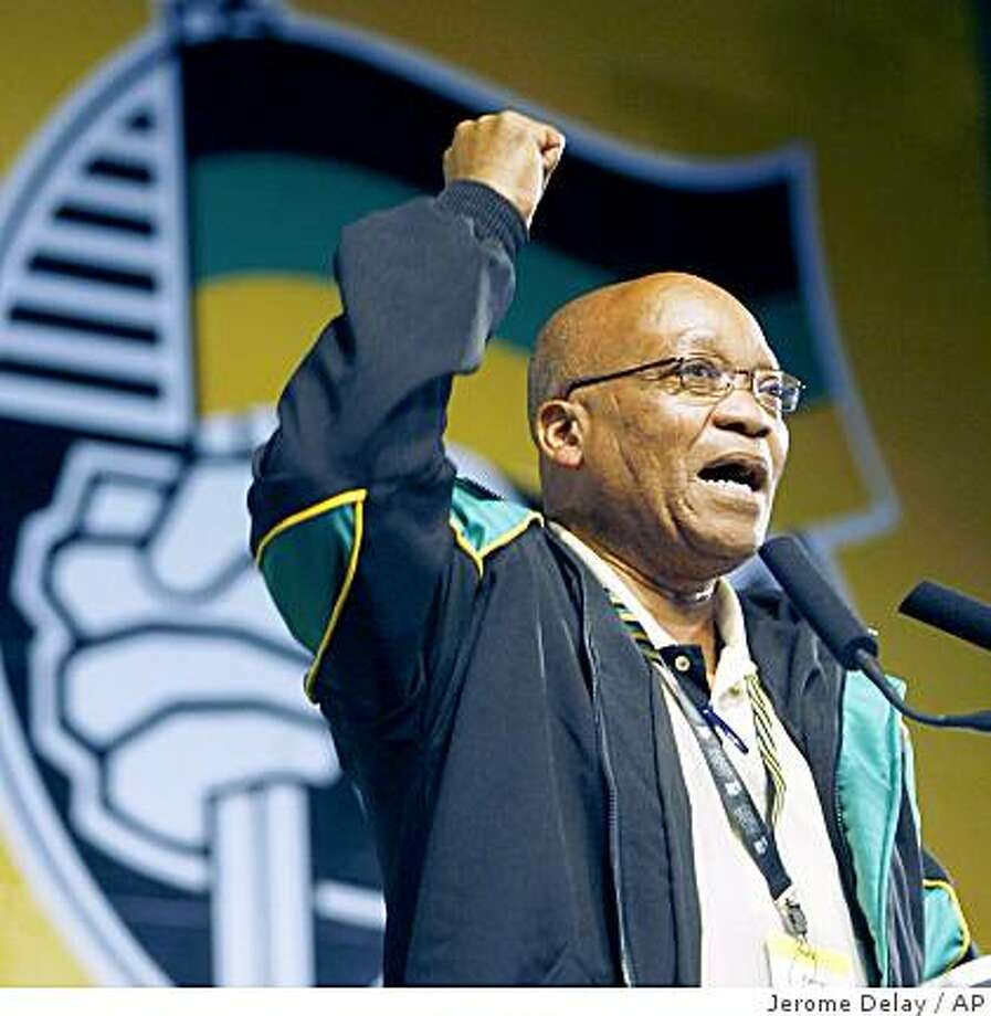 Newly elected ANC President Jacob Zuma addresses delegates during the closing session of the African National Congress conference in Polokwane, South Africa, Thursday, Dec. 20, 2007. Zuma defeated South African President Thabo Mbeki with 2329 votes against 1505 Tuesday. (AP Photo/Jerome Photo: Jerome Delay, AP