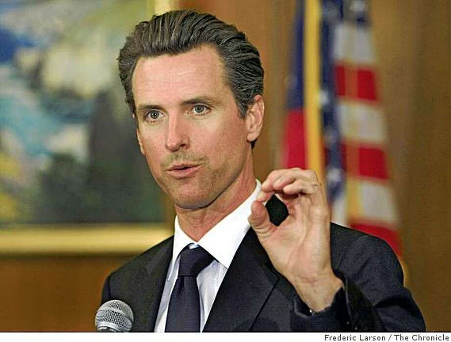 Mayor Gavin Newsom along talks about the hard economics times faces the city and some economic stimulus plans they plan to develop at the San Francisco City Hall, San Francisco, Cailf., on Monday, October 20, 2008. Photo: Frederic Larson, The Chronicle