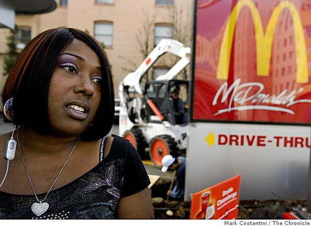 At a riot-damaged McDonald's on January 8, 2009, Oakland resident and student Atilda Forbes speaks about the protest Oakland, Calif.  protest of the BART shooting. Photo: Mark Costantini, The Chronicle