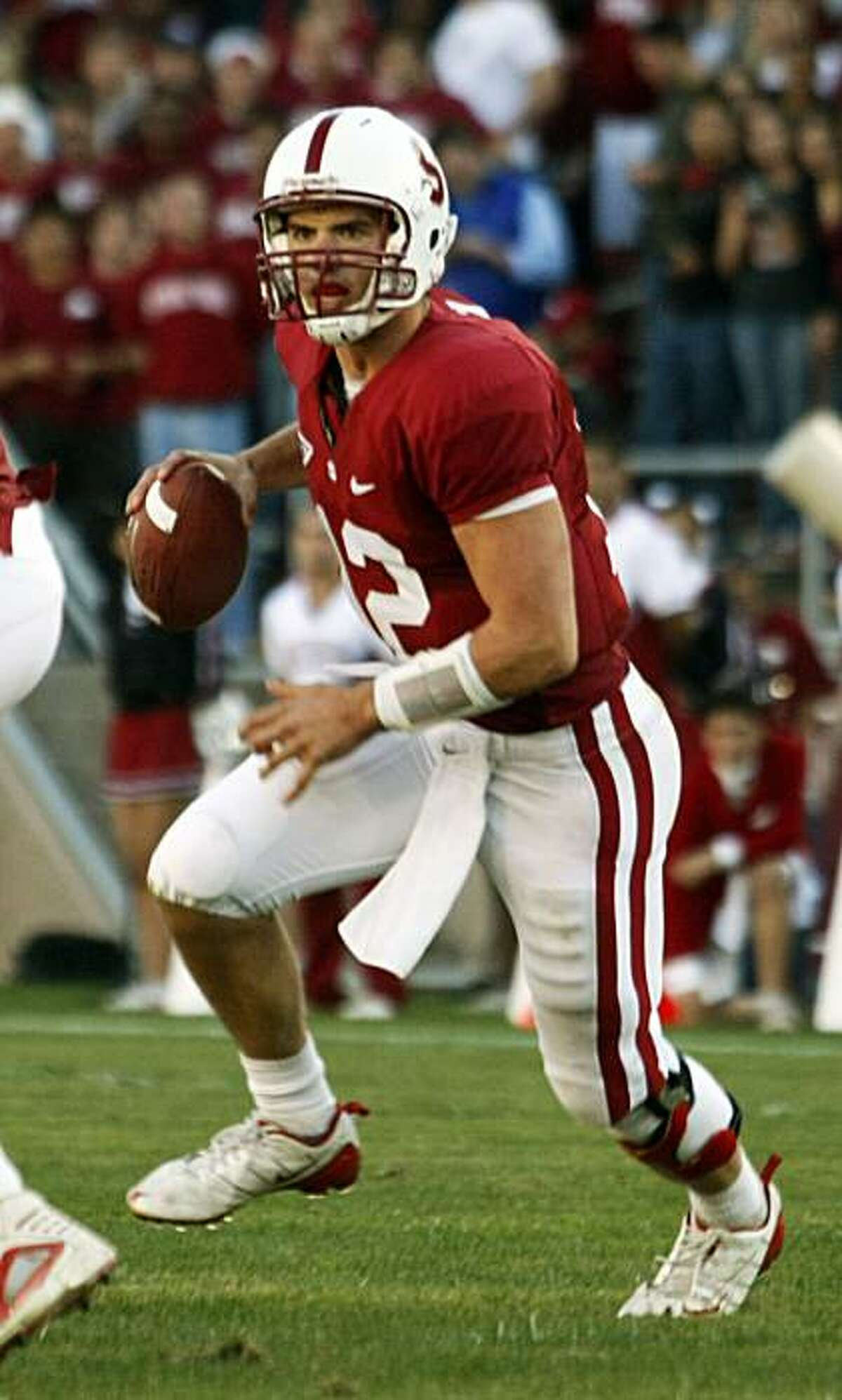 Stanford's Andrew Luck rolls out in the red-zone in second half action Saturday Nov 7, 2009. Stanford defeated 7th ranked Oregon 51-42 in their NCAA College football game in Palo Alto Ca.
