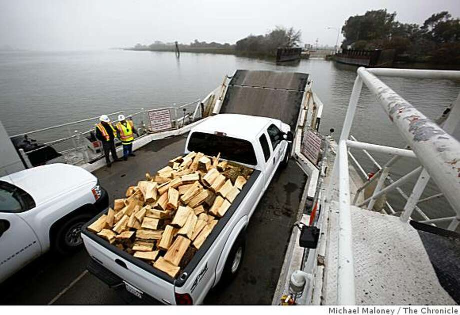 The Real McCoy, a propeller driven ferry that's a unique part of the California state highway system, serves the 400 residents of tiny Ryer Island in the delta. Here, a pickup truck loaded with firewood makes the crossing to the Rio Vista, Calif. side of Cache Slough on Wednesday, January 7, 2009. Photo: Michael Maloney, The Chronicle