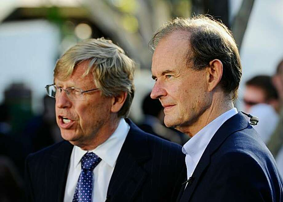 WEST HOLLYWOOD, CA - AUGUST 04:   Lawyers David Boies (R) and Theodore Olson speak during a rally to celebrate the ruling to overturn Proposition 8 on August 4, 2010 in West Hollywood, California. A federal judge overturned California's Proposition 8, a same-sex marriage ban, finding it unconstitutional. The voter approved measure denies same-sex couples the right to marry in the State of California. Photo: Kevork Djansezian, Getty Images