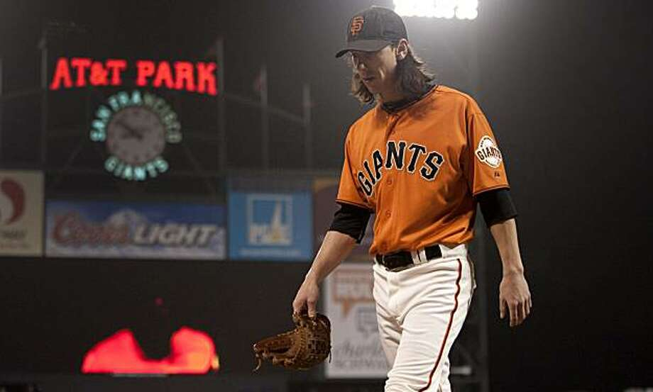 Tim Lincecum leaves the field after an inning of work on the mound as the San Francisco Giants take on the Arizona Diamondbacks at AT&T Park in San Francisco, Calif., on Friday, August 27, 2010. Photo: Chad Ziemendorf, The Chronicle