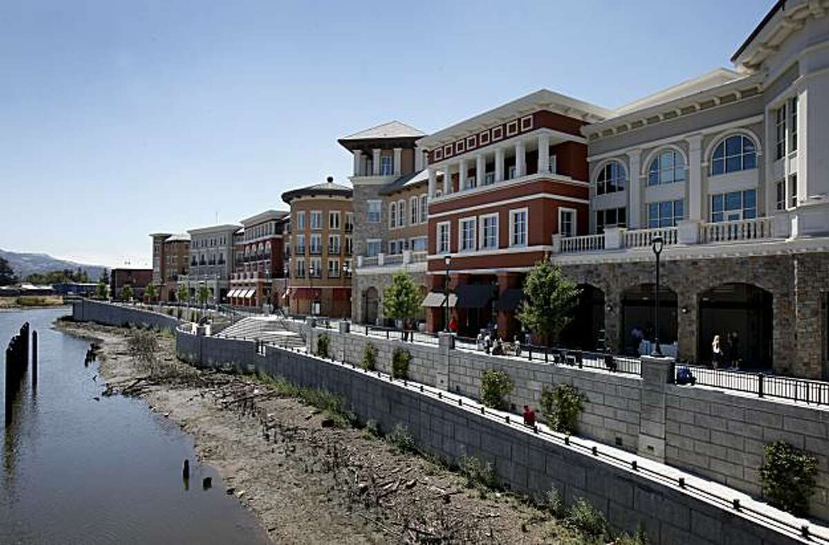 New shopping and home development in downtown Napa next to the Napa River. Napa, Calif. is one of the most visited cities in the Bay Area and features fine restaurants, wineries, a renovated downtown and scenic vineyards.