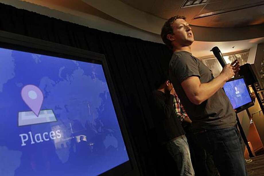 "Facebook founder and CEO Mark Zuckerberg  announces a new feature of Facebook named ""Places"" in Palo Alto, Calif. on Wednesday August 18, 2010. Places will allow users to share where you are, see where your friends are and discover new places. Photo: Lea Suzuki, The Chronicle"