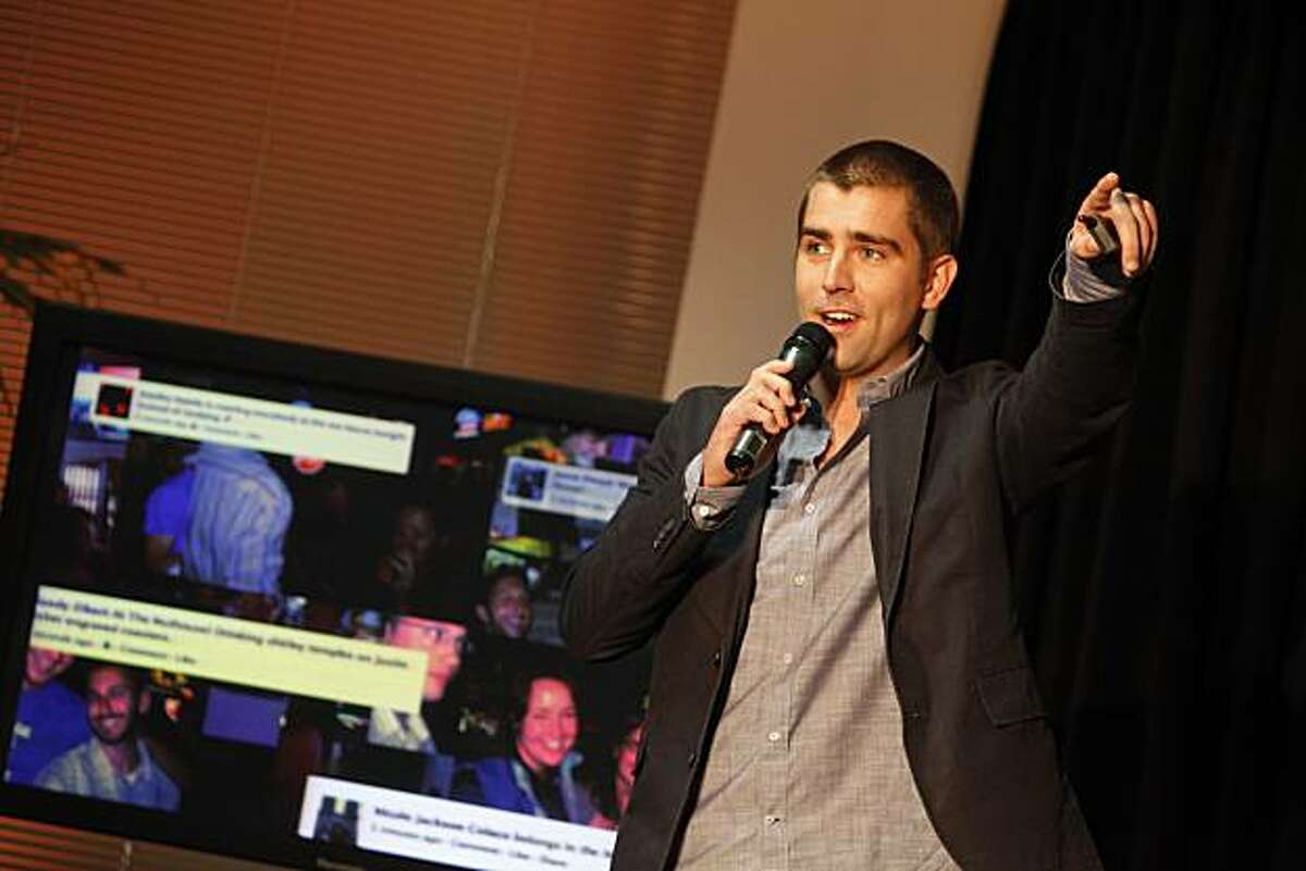 Facebook Vice President Chris Cox speaks during a press conference announcing a new feature of Facebook named