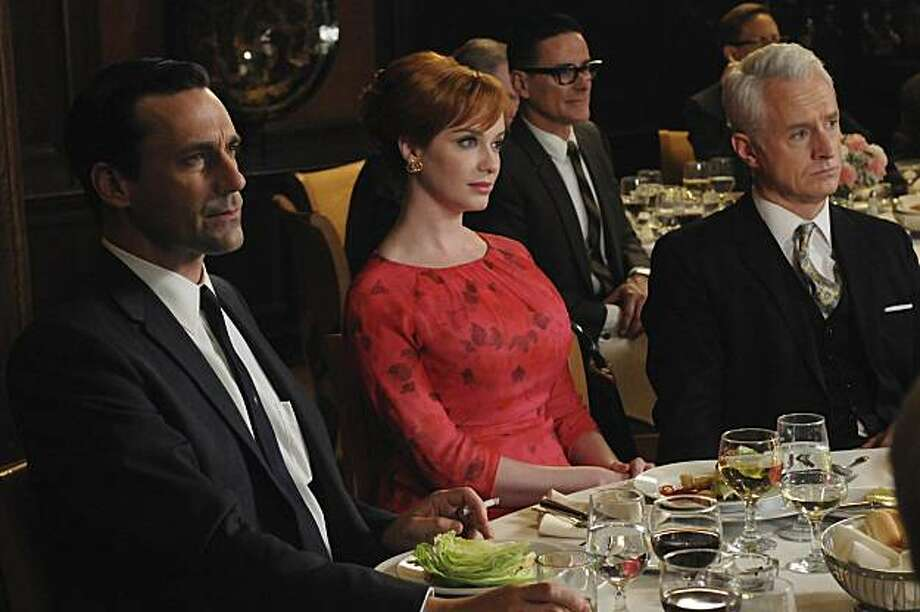 """Look, I want to tell you something because you're very dear to me. And I hope you understand that it comes from the bottom of my damaged, damaged heart. You are the finest piece of *** I've ever had and I don't care who knows it. I am so glad that I got to roam those hillsides.""— Roger to Joan on ""Mad Men.""PHOTO: Don Draper (Jon Hamm), Joan Harris (Christina Hendricks) and Roger Sterling (John Slattery) of AMC's Mad Men. Photo: Amc"