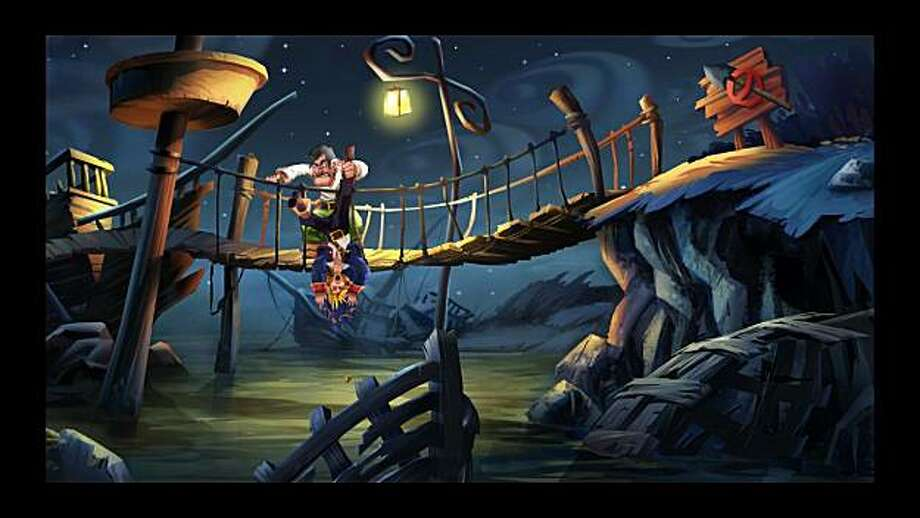 A screenshot from adventure game, Monkey Island 2: LeChuck's Revenge. This scene depicts the hero, Guybrush Threepwood getting harassed by Largo LaGrande, the first mate of ghost pirate, LeChuck. Photo: LucasArts