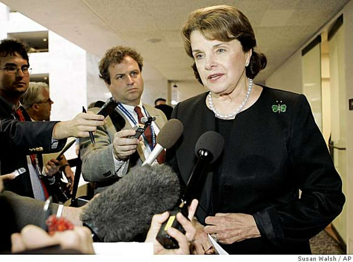 San Francisco's own Sen, Dianne Feinstein is introducing legislation forbidding recipients of federal bailout largess ? Wells Fargo got $25 billion, you will recall ? from using any of that money for lobbying purposes.Senate Intelligence Committee member Sen. Dianne Feinstein, D-Cailf., talks with reporters on Capitol Hill in Washington, Thursday, April 24,2008, following a closed-door briefing of the committee. (AP Photo/Susan Walsh)