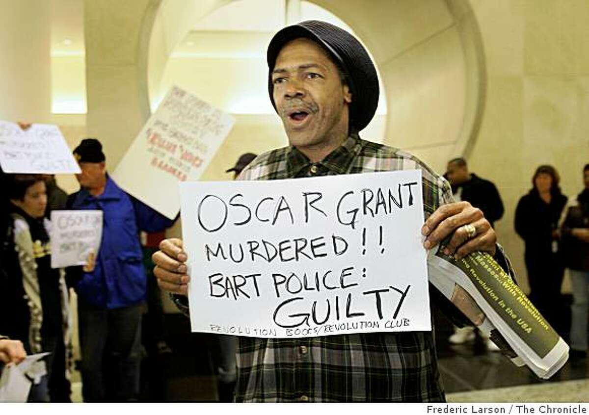 Mubarak Ahmad along with dozens of others voice their opinions about the BART shooting in a protest in the lobby of the BART headquarters on Janurary 05, 2009.