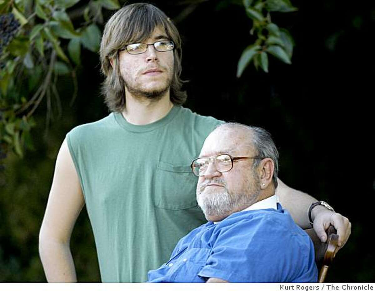 (Left) Patrick Spangler 18 and his 64-year-old Grandfather John Surinchak are Heroes after confronting a person who just killed a person at the OfficeMax store in San Francisco. They held Peter Fong on the ground till police arrived.. on Friday Jan 9, 2009 in San Rafael , Calif