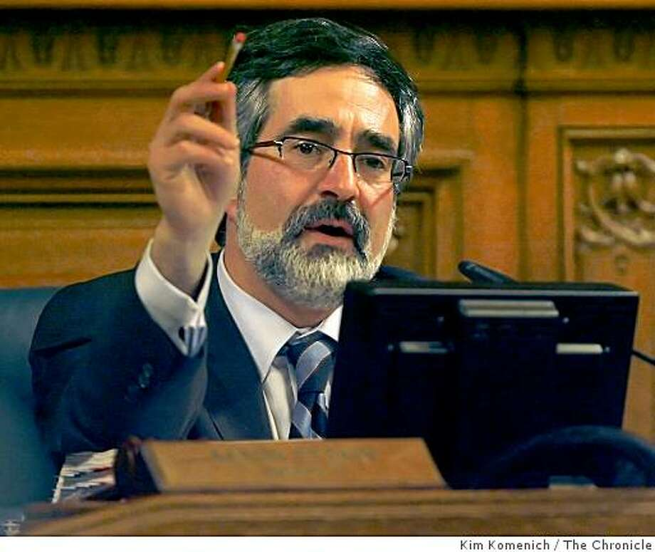 San Francisco Board of Supervisors President Aaron Peskin presides over the final Supes meeting of 2008 on Tuesday, Dec. 16, 2008 at San Francisco, Calif., City Hall. Photo: Kim Komenich, The Chronicle