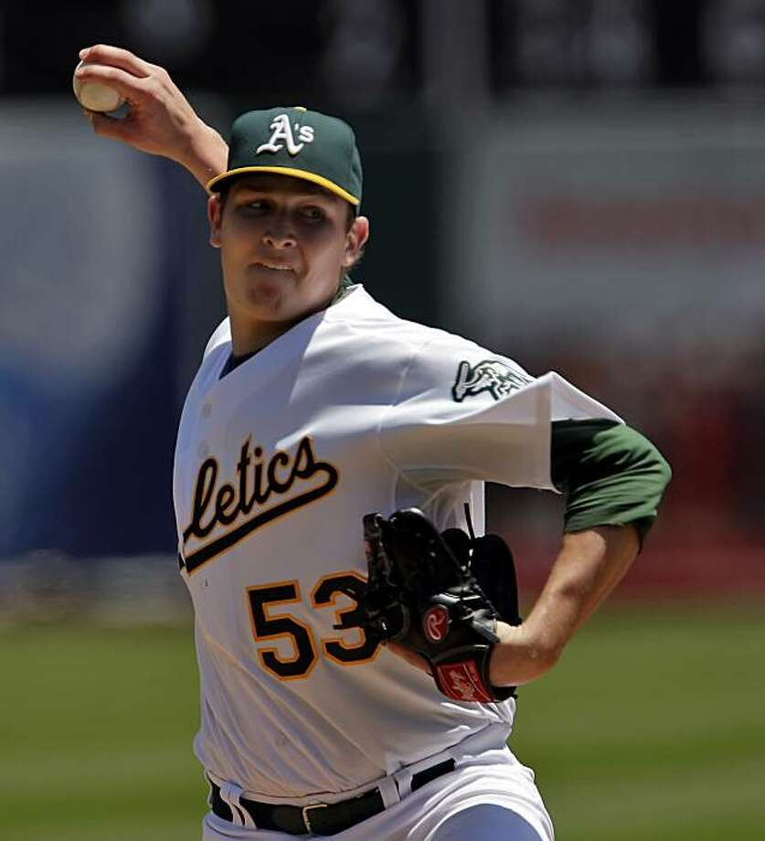 Trevor Cahill pitched for the Athletics against the Mariners. The Oakland Athletics played the Seattle Mariners at the Oakland-Alameda County Coliseum on Wednesday, May 27, 2009. The Mariners won the game 6-1. Photo: Carlos Avila Gonzalez, The Chronicle