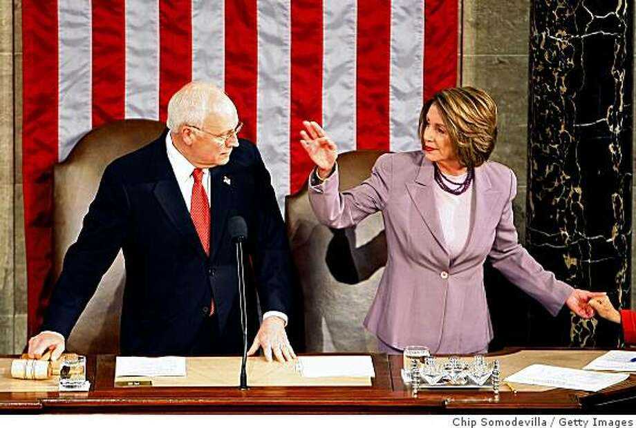 WASHINGTON - JANUARY 08:  U.S. Vice President and President of the Senate Dick Cheney (L) and Speaker of the House Nancy Pelosi (D-CA) before starting a joint session of Congress to count the Electoral College vote from the 2008 presidential election the House Chamber in the U.S. Captiol  January 8, 2009 in Washington, DC. Congress met in a joint session to tally the Electoral College votes and certify Barack Obama to be the winner of the 2008 presidential election.  (Photo by Chip Somodevilla/Getty Images) Photo: Chip Somodevilla, Getty Images