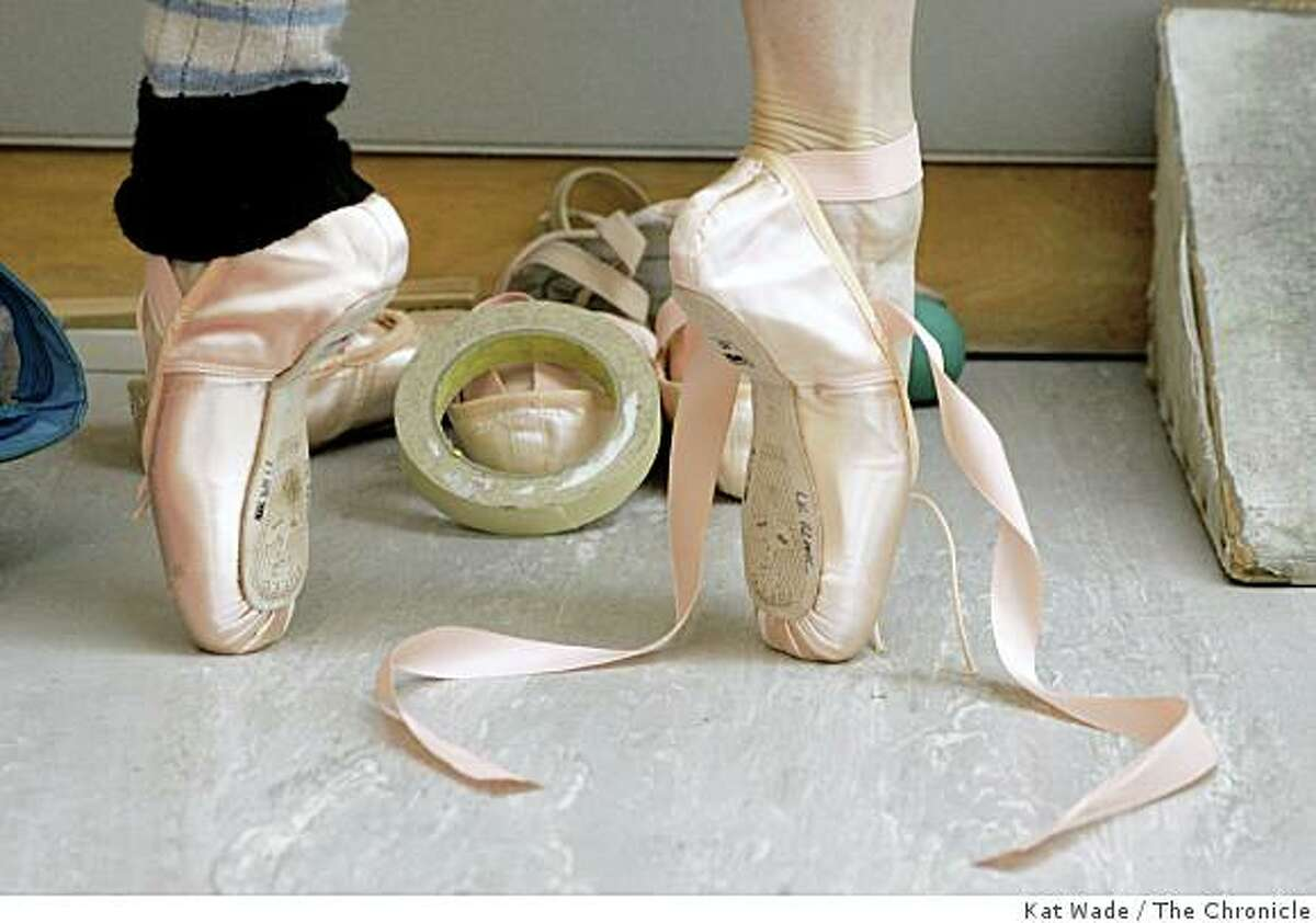 """STAND ALONE: San Francisco ballet dancer, Tina LeBlanc breaks in a brand new pair of ballet slippers while practicing for """"Don Quijote"""" at the San Francisco ballet building in San Francisco on Monday April 30, 2007. Kat Wade/The Chronicle"""