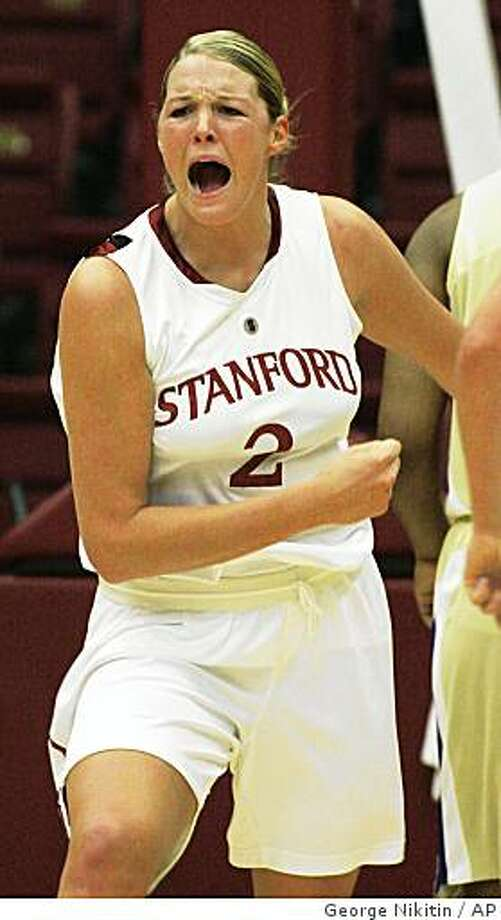 Stanford's Jayne Appel reacts after scoring against Washington during the first half of an NCAA college women's basketball game, Thursday, Jan. 8, 2009, in Stanford, Calif. (AP Photo/George Nikitin) Photo: George Nikitin, AP