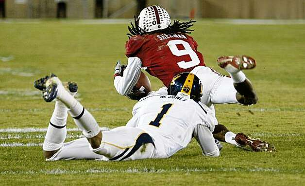 Stanford's Richard Sherman steps in front of Cal's Marvin Jones for a second quarter interception in the Big Game on Saturday. Photo: Michael Macor, The Chronicle