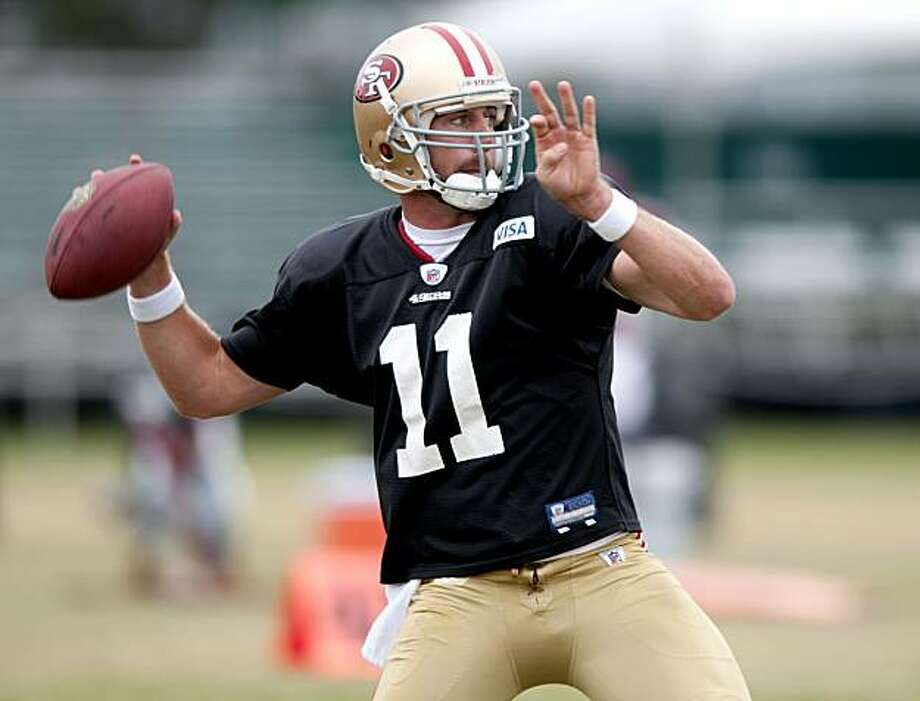 Quarterback Alex Smith makes a pass during the San Francisco 49ers pre season practice at their Santa Clara, Calif., practice facility on Thursday, August 12, 2010. Photo: Chad Ziemendorf, The Chronicle