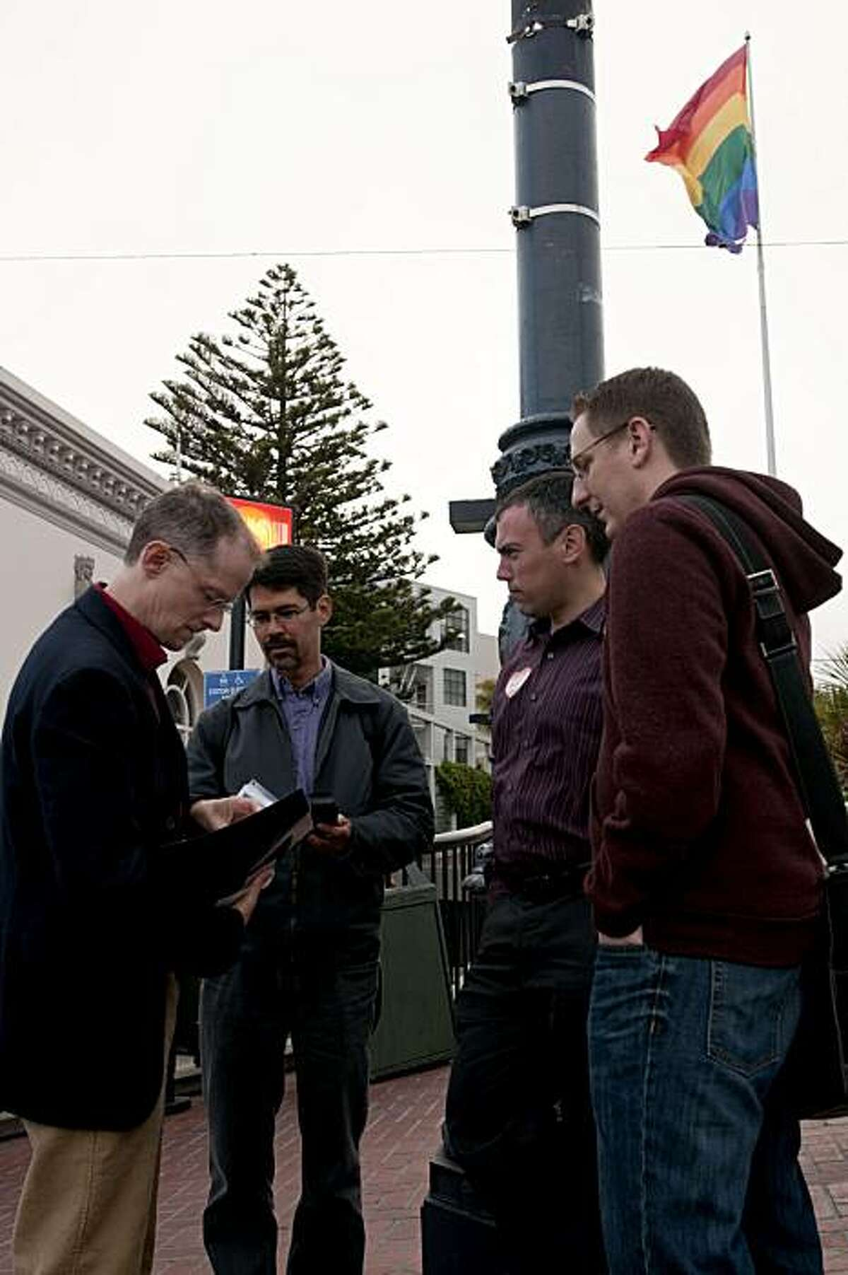 John Lewis, Stuart Gaffney, Ian Hart and Eric Ross discuss today's ruling and share their reactions from the stay that was put on same sex marriages in San Francisco, Calif., on Wednesday, August 16, 2010.
