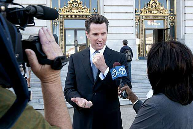 "Mayor Gavin Newsom shares his disappointment with media but is encouraged that the decision will be made in December rather than be pushed into 2011.  ""What do you say to a couple who has waited 30 years for this and already had their save the date cards mailed out.  It's frustrating"" said Newsom in reaction to the stay that was put on same sex marriages in San Francisco, Calif., on Wednesday, August 16, 2010. Photo: Chad Ziemendorf, The Chronicle"