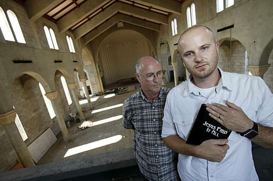 Associate Pastors Chris Nunn (right) and Steve Messick stand in the shell of their Christ Community Church.  It was damaged in an earthquake last Easter and will soon be rebuilt. Both men believe the Bible and can never condone same sex marriage. Imperial County in the southeastern corner of the state of California voted strongly for Proposition 8 and now plans to defend the statute in upcoming court actions. Photo: Brant Ward, The Chronicle