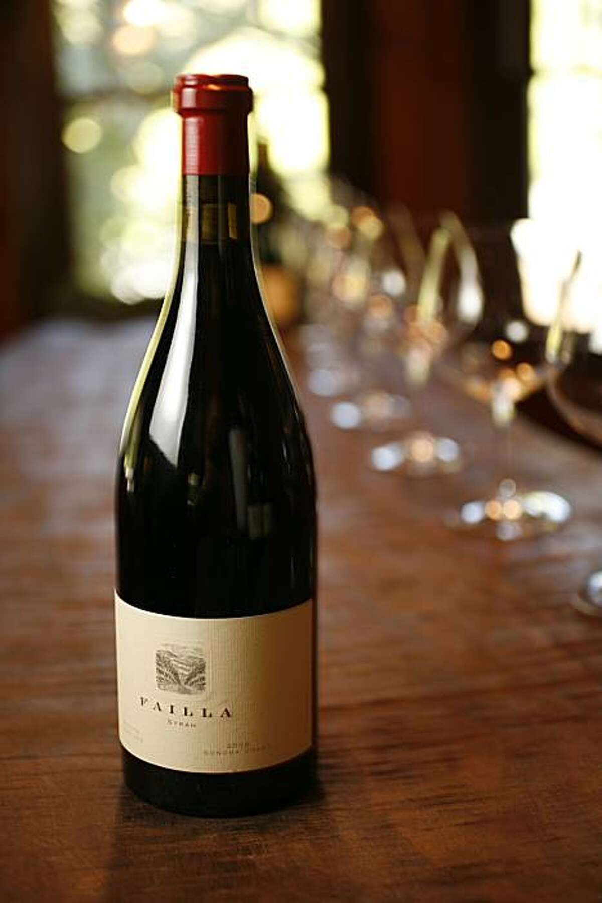 Syrah wine grapes grown in Pinot Noir areas. Photo of a bottle of 2006 Failla Syrah Sonoma Coast Estate Vineyard. photo by Craig Lee / The Chronicle