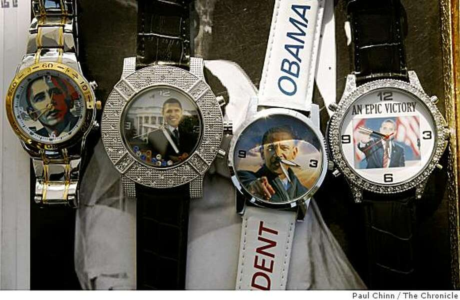 Barack Obama wrist watches were for sale at the Ashby BART station flea market in Berkeley, Calif., on Saturday, Dec. 20, 2008. Photo: Paul Chinn, The Chronicle