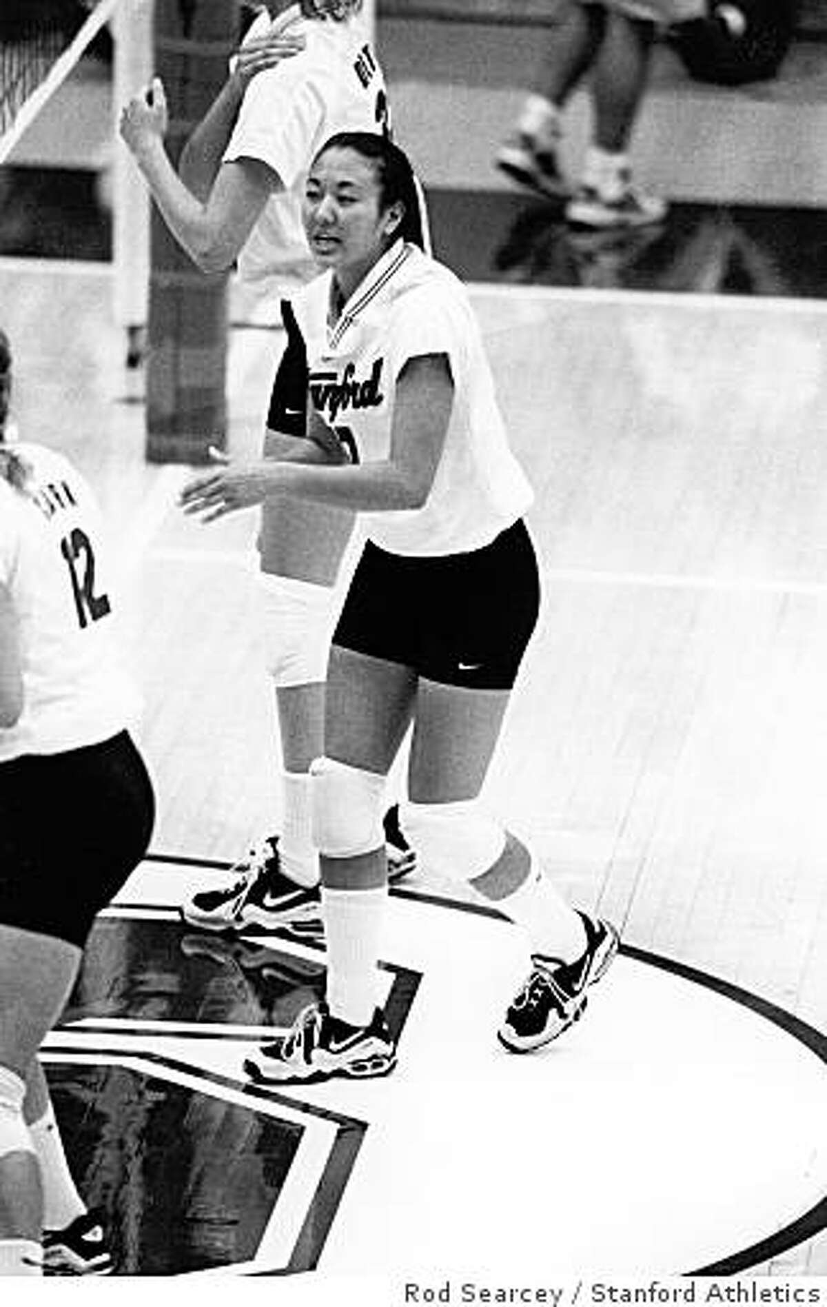 Lindsay Kagawa, 1997, as a freshman on Stanford volleyball team.