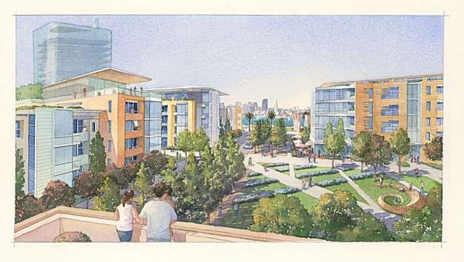 An artist's rendering of what the proposed development for Treasure Island would look like.  Courtesy of Treasure Island Community Development Photo: 2001 Snowbound