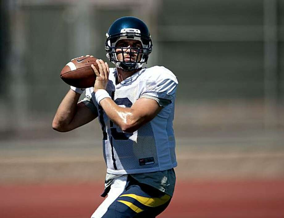 Quarterback Kevin Riley works on passing during the Cal Bears practice at Monte Vista High School in Danville, Calif., Sunday, August 15, 2010. Photo: Chad Ziemendorf, The Chronicle