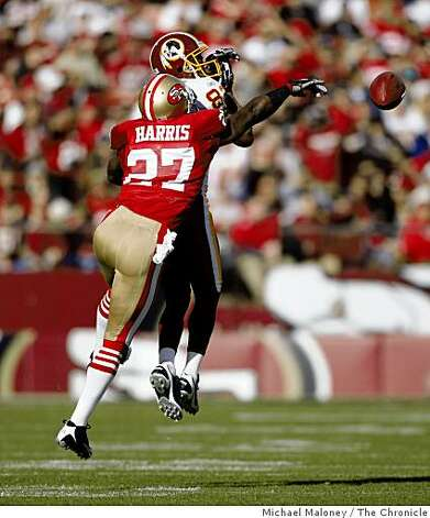 San Francisco 49ers Walt Harris (27) breaks up a pass intended for Washington Redskins Antwaan Randle El (82) in a game hosted by the 49ers at Candlestick Park on Sunday, December 28, 2008. Photo: Michael Maloney, The Chronicle