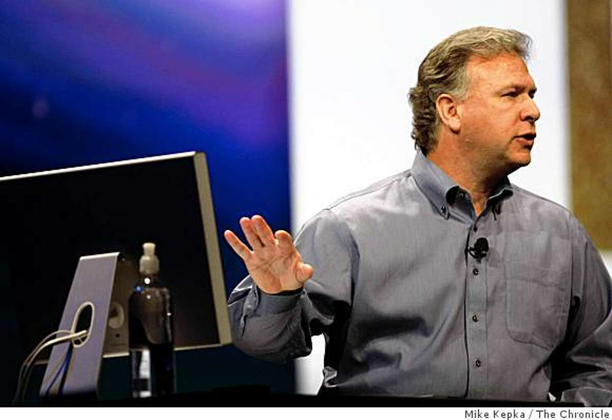 Announcing iLife'09 and iWork'09, Apple's senior vice president of Worldwide Product Marketing, Phil Schiller gives the keynote speech during Macworld Conference and Expo at Moscone Center on Tuesday Jan. 6, 2009 in San Francisco, Calif.