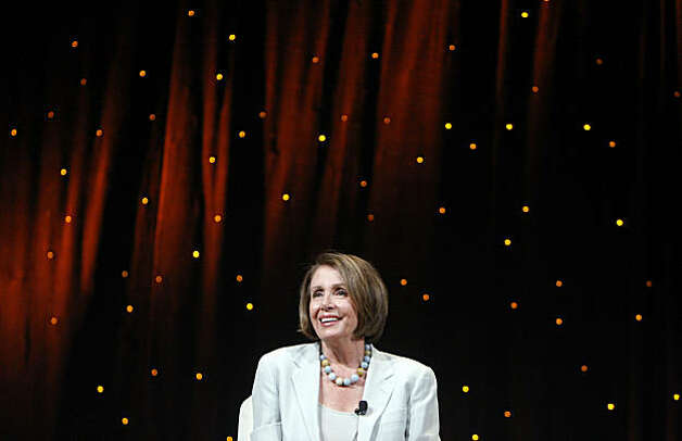 Speaker of the House Nancy Pelosi, D-Calif. delivers a keynote speech to the Netroots Nation progressive bloggers conference in Las Vegas, Nevada, Saturday, July 24, 2010. (Isaac Brekken/MCT) Photo: Isaac Brekken