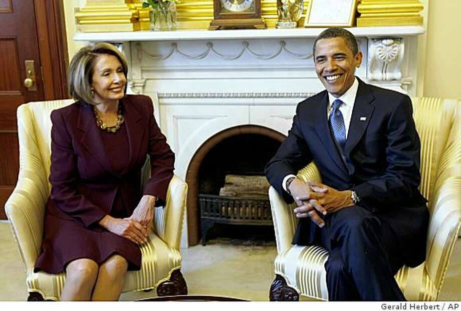 President-elect Barack Obama meets with House Speaker Nancy Pelosi of Calif. in her office on Capitol Hill in Washington, Monday, Jan. 2009. (AP Photo/Gerald Herbert) Photo: Gerald Herbert, AP