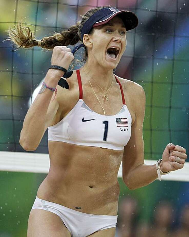 United States' Kerri Walsh reacts during a gold medal women's beach volleyball match against China at the Chaoyang Park Beach Volleyball Ground at the Beijing 2008 Olympics in Beijing, Thursday, Aug. 21, 2008. USA won 21-18, 21-18. (AP Photo/Natacha Pisarenko) Photo: Natacha Pisarenko, AP