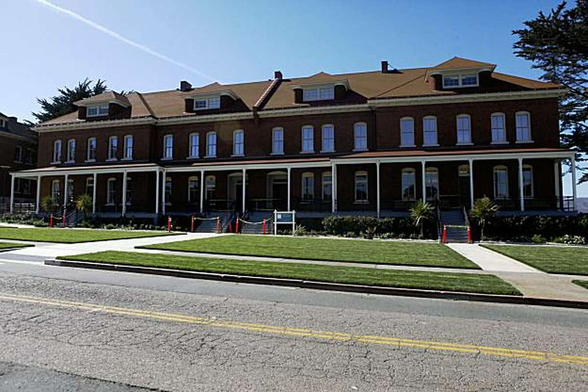 The lawn in front of the The Walt Disney Family Museum is freshly manicured.