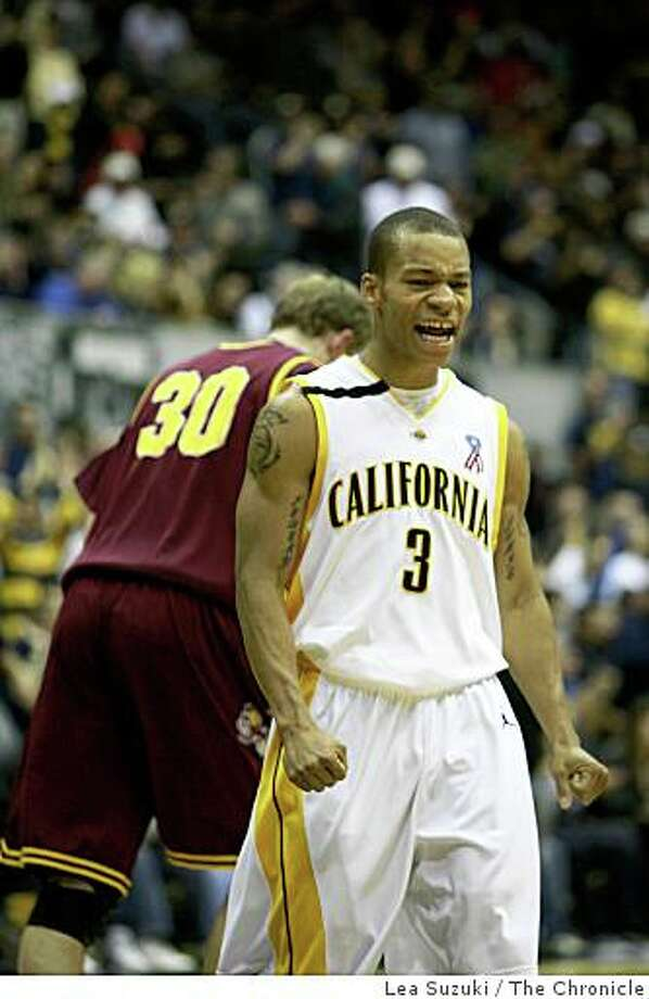 Jerome Randle (Cal #3) reacts after scoring 3 points in the second half  during the California Golden Bears vs. Arizona State Sun Devils game in Berkeley, Calif. on Sunday January 4 ,2009. Final Score: Cal  81 vs. Ariona state  71. Photo: Lea Suzuki, The Chronicle