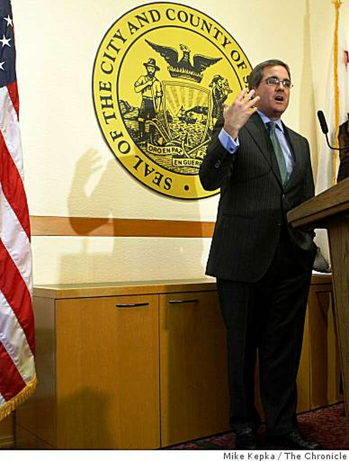 San Francisco City Attorney, Dennis Herrera holds a press conference in his office at city hall after the California Supreme Court agreed to look at legal challenges to Proposition 8, which currently bans same-sex marriage, on Nov 19, 2008 in San Francisco, Calif. Photo: Mike Kepka, The Chronicle