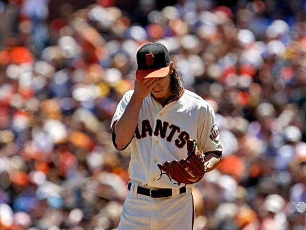 The San Francisco Giants starting pitcher Tim Lincecum reacts at the mound after the San Diego Padres score in the 2nd inning,  Sunday August 15, 2010, in San Francisco, Calif. Lincecum was replaced by Guillermo Mota in the 4th inning after six runs to the Padres Photo: Lacy Atkins, THE CHRONICLE