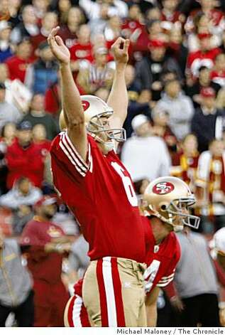 San Francisco 49ers kicker Joe Nedney (6) celebrates his game winning kick with seconds left of a game hosted by the 49ers at Candlestick Park on Sunday, December 28, 2008. Behind him is holder Andy Lee (4). The 49ers won 27-24. Photo: Michael Maloney, The Chronicle