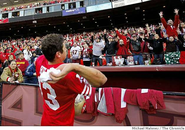 San Francisco 49ers quarterback Shaun Hill (13) throws his wrist bands to fans after winning 27-24 during a game hosted by the 49ers at Candlestick Park on Sunday, December 28, 2008. Photo: Michael Maloney, The Chronicle