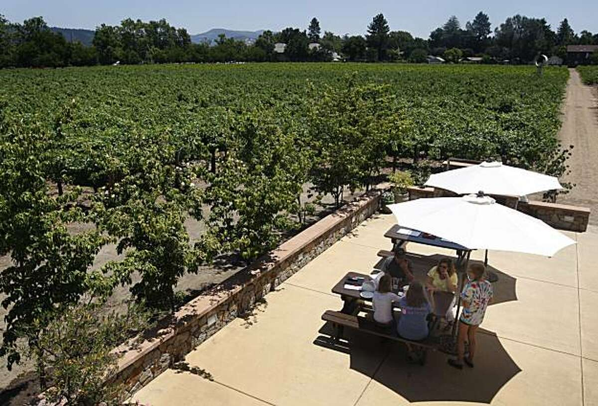 The Salvestrin Winery tasting room has several picnic tables for visitors to have lunch and taste wines in Saint Helena, Calif., on Thursday, July 8, 2010.